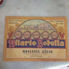 Etiquetas antiguas: ETIQUETA MOSCATEL AÑEJO HILARIO BOTELLA - JÁTIVA - XÁTIVA - VALENCIA -. Lote 160312850