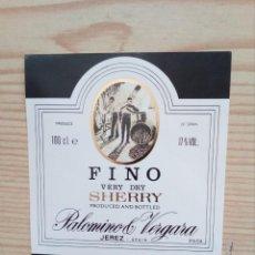 Etiquetas antiguas: ETIQUETA PALOMINO & VERGARA SHERRY FINO VERY DRY. Lote 160388350