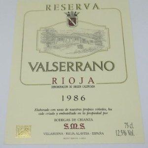 Valserrano. Rioja. Reserva 1986. Bodegas de Crianza. Villabuena. Rioja Alavesa 13x10cm