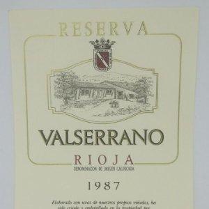 Valserrano. Rioja. Reserva 1987. Bodegas de Crianza. Villabuena. Rioja Alavesa Etiqueta 13x10cm