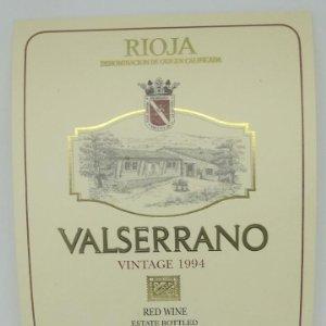Valserrano. Rioja. Vintage 1994. Bodegas de Crianza. Villabuena. Rioja Alavesa. Etiqueta 13x10cm
