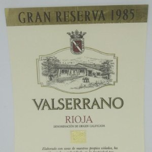 Valserrano. Rioja. Gran reserva 1985 Bodegas de Crianza. Villabuena. Rioja Alavesa. Etiqueta 13x10cm