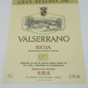 Valserrano. Rioja. Gran reserva 1987 Bodegas de Crianza. Villabuena. Rioja Alavesa. Etiqueta 13x10cm