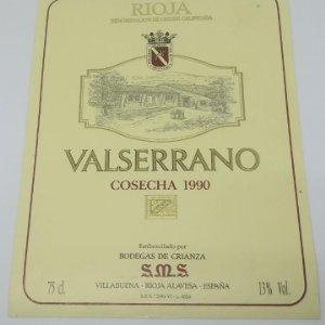 Valserrano. Rioja. Cosecha 1990 Bodegas de Crianza. Villabuena. Rioja Alavesa. Etiqueta 13x10cm