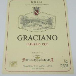 Graciano. Rioja. Cosecha 1995 Bodegas de la Marquesa. Villabuena. Rioja Alavesa. Etiqueta 13x10cm