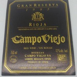 Campo viejo. Gran reserva 1985. Rioja. Logroño. Rioja alta. Etiqueta 12x9,5 nunca usada