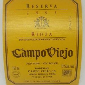 Campo viejo. Reserva 1991. Rioja. Logroño. Rioja alta. Etiqueta 12x9,5 nunca usada