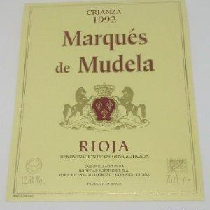 Marqués de Mudela. Crianza 1992 Rioja. Barrel Fermented. Fuentoro. Logroño. Rioja alta. Etiqueta