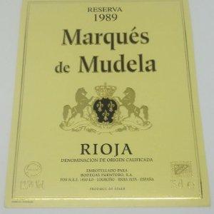 Marqués de Mudela. Reserva 1989. Rioja. Barrel Fermented. Fuentoro. Logroño. Rioja alta. Etiqueta
