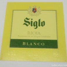 Etiquetas antiguas: SIGLO. RIOJA BLANCO. BODEGAS AGE. FUENMAYOR. ETIQUETA IMPECABLE. Lote 160477758