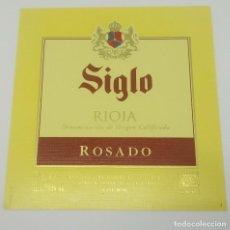 Etiquetas antiguas: SIGLO. RIOJA ROSADO. BODEGAS AGE. FUENMAYOR. ETIQUETA IMPECABLE. Lote 160477802