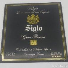 Etiquetas antiguas: SIGLO. RIOJA GRAN RESERVA. BODEGAS AGE. FUENMAYOR. ETIQUETA IMPECABLE. Lote 160477882