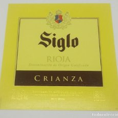 Etiquetas antiguas: SIGLO. RIOJA CRIANZA. BODEGAS AGE. FUENMAYOR. ETIQUETA IMPECABLE. Lote 160477918