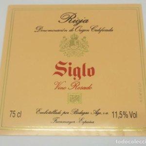 Siglo. Rioja gran reserva. Vino rosado. Bodegas Age. Fuenmayor. Etiqueta
