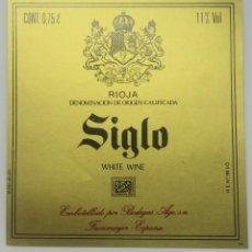 Etiquetas antiguas: SIGLO.WHITE WINE. BODEGAS AGE. FUENMAYOR. ETIQUETA. Lote 160478230