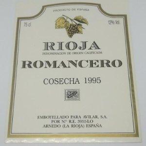 Romancero. Rioja. Cosecha 1995. Avilar. Arnedo. La rioja.. Etiqueta 13x9cm