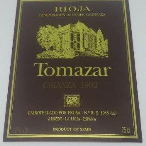 Tomazar. Rioja. Crianza 1992 Frusa. Arnedo. La rioja.. Etiqueta 13x9cm