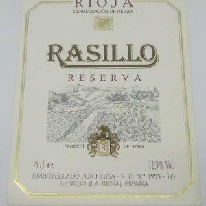 Rasillo. Rioja. Reserva. Frusa. Arnedo. La rioja.. Etiqueta 13x9cm