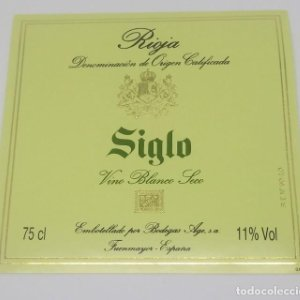 Siglo. Vino blanco seco. Rioja. Bodegas Age. Fuenmayor. Etiqueta 9,4x9,8