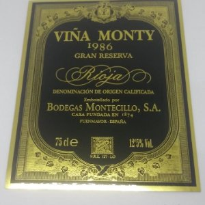 Viña Monty 1986 Gran reserva. Bodegas Montecillo. Fuenmayor. La Rioja. Etiqueta impecable 13x10,5cm