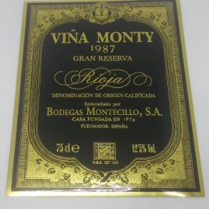 Viña Monty 1987 Gran reserva. Bodegas Montecillo. Fuenmayor. La Rioja. Etiqueta impecable 13x10,5cm