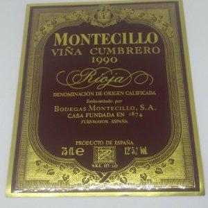 Montecillo. Viña Cumbrero 1990 Bodegas Montecillo. Fuenmayor. La Rioja. Etiqueta impecable 13x10,5cm