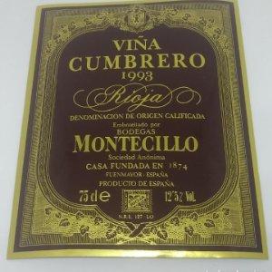 Montecillo. Viña Cumbrero 1993 Bodegas Montecillo. Fuenmayor. La Rioja. Etiqueta impecable 13x10,5cm