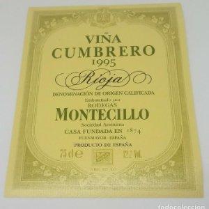 Montecillo. Viña Cumbrero 1995 Bodegas Montecillo. Fuenmayor. La Rioja. Etiqueta impecable 13x10,5cm