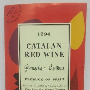 1994 Catalan red wine. Garnacha. Cariñena. Pedro Rovira. Terra Alta. Etiqueta de muestra.