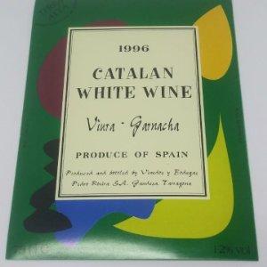 1996 Catalan white wine. Garnacha. Cariñena. Pedro Rovira. Terra Alta. Etiqueta de muestra.