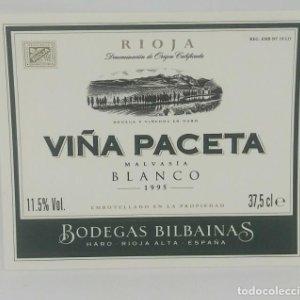 Viña panceta. Malvasia blanco 1995 Bodegas Bilbainas Rioja Nunca pegada en botella. Impecable estado