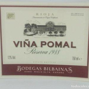 Viña Pomal reserva 1988 Bodegas Bilbainas. Haro. Rioja Nunca pegada en botella. Impecable estado