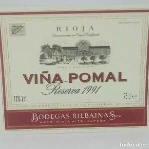 Viña Pomal reserva 1991 Bodegas Bilbainas. Haro. Rioja Nunca pegada en botella. Impecable estado