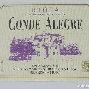 Conde Alegre. Bodegas y viñas Senda Galiana. Villamediana. Nunca pegada en botella. Impecable estado