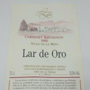 Lar de Oro. Valle de la mina. Cabernet Sauvignon 1990. Inviosa. Aceuchal. Almendralejo