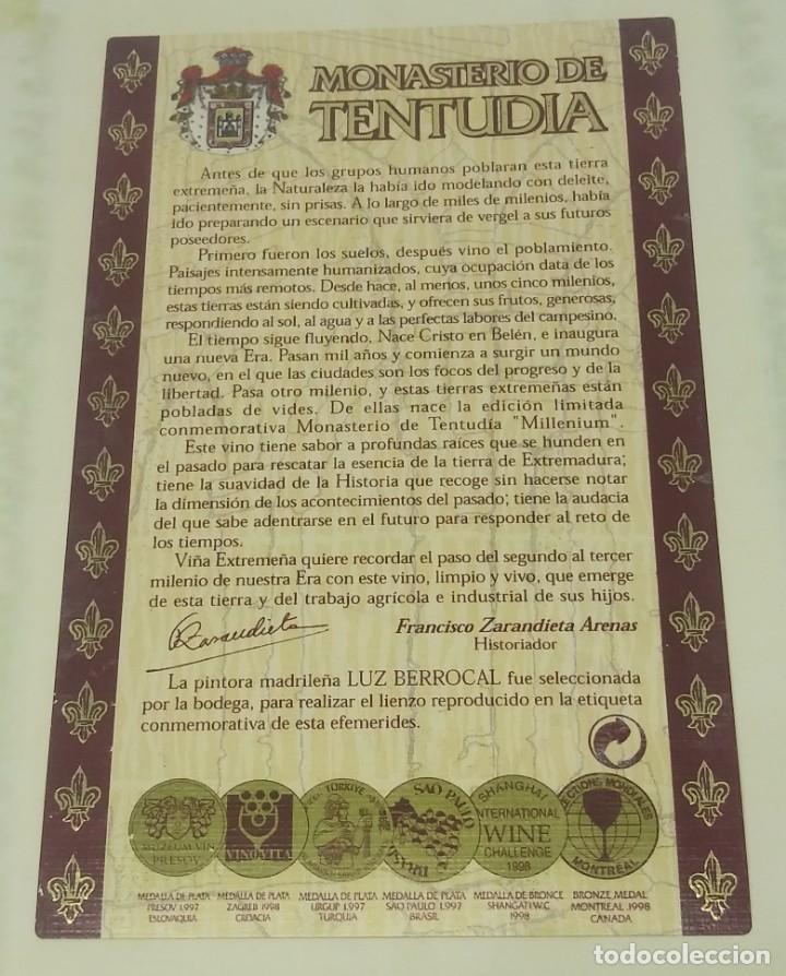 Etiquetas antiguas: Monasterio de Tentudia. Cosecha 1995. Millenium. Viña Extremeña. Almendralejo. Badajoz. - Foto 2 - 160682930