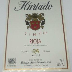 Hurtado. Tinto rioja. Bodegas hermanos Hurtado. Navarrete. La Rioja. Excelente estado