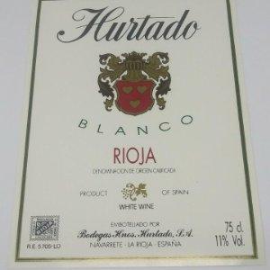Hurtado. Blanco rioja. Bodegas hermanos Hurtado. Navarrete. La Rioja. Excelente estado