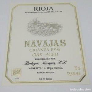Navajas. Crianza 1995 Oak-Aged Bodegas Navajas. Navarrete. La Rioja. Excelente estado