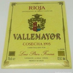 Vallemayor Cosecha 1993 Luis Perez Foncea Etiqueta nunca pegada en botella Fuenmayor. La Rioja