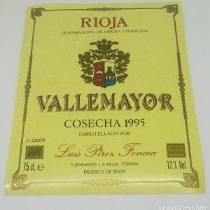 Vallemayor Cosecha 1995 Luis Perez Foncea Etiqueta nunca pegada en botella Fuenmayor. La Rioja