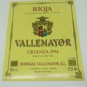 Vallemayor. Crianza 1994 Bodegas Vallemayor. Etiqueta nunca pegada en botella Fuenmayor. La Rioja