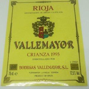 Vallemayor. Crianza 1993 Bodegas Vallemayor. Etiqueta nunca pegada en botella Fuenmayor. La Rioja