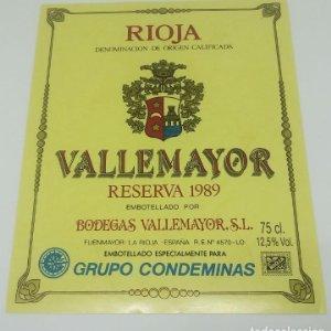 Vallemayor. Reserva 1989. Bodegas Vallemayor. Etiqueta nunca pegada en botella. Fuenmayor. La Rioja