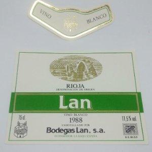 Lan. Vino blanco 1988. Rioja. Bodegas Lan. Fuenmayor. La Rioja. 2 Etiquetas de muestra