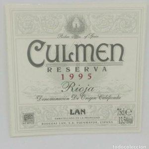 Culmen. Reserva 1995. Rioja. Bodegas Lan. Fuenmayor La Rioja Etiqueta/pegatina de muestra impecables