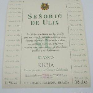 Señorio de Ulloa. Rioja blanco. Tierras y viñas. Fuenmayor. La Rioja Etiqueta de muestra impecable
