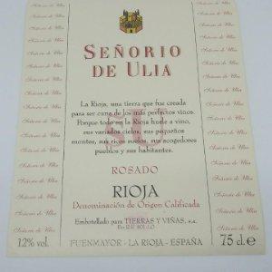 Señorio de Ulloa. Rioja rosado. Tierras y viñas. Fuenmayor. La Rioja Etiqueta de muestra impecable
