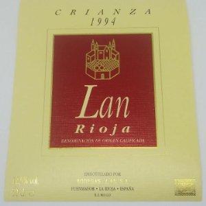 Lan. Crianza 1994. Bodegas Lan. Fuenmayor. La Rioja. Etiqueta de muestra impecable