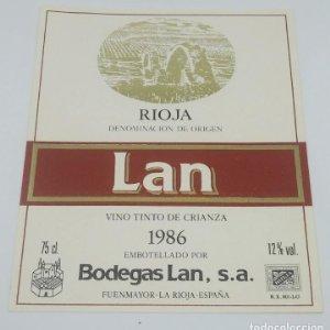 Lan. Vino tinto crianza 1985 Bodegas Lan. Fuenmayor. La Rioja. Etiqueta de muestra